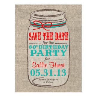 El cumpleaños rústico del tarro de la arpillera y  postales