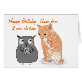El cumpleaños sabio del búho del gatito lindo, felicitación