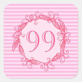El cumpleaños Swirly rosado hermoso de las mujeres Pegatina Cuadrada
