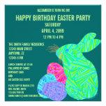 El cumpleaños verde lindo del tema de Pascua de la Invitacion Personal