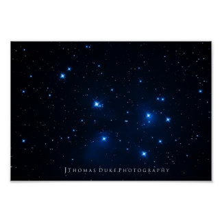 El cúmulo de estrellas de Pleiades Póster
