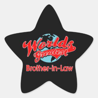 El cuñado más grande del mundo pegatina forma de estrella personalizada
