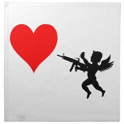 El Cupid armado destruye amor Servilleta Imprimida