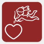 El Cupid pega a los pegatinas de encargo Calcomanía Cuadrada