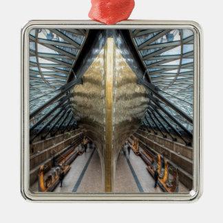 El Cutty Sark, Greenwich Londres Adorno Navideño Cuadrado De Metal