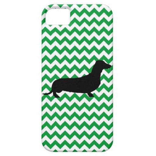 El Dachshund con usted escoge el color Chevron iPhone 5 Case-Mate Funda