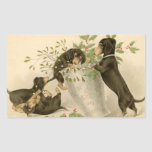 El dachshund del vintage persigue al pegatina del