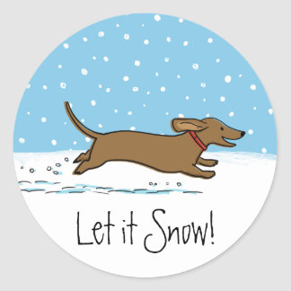 El Dachshund lo dejó nevar - perro feliz de la Pegatina Redonda