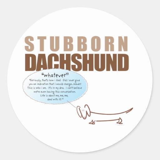 """¡El Dachshund obstinado… dice """"LO QUE!!!! """" Pegatinas"""