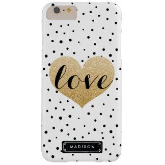 El Dalmatian blanco del negro del corazón del amor Funda De iPhone 6 Plus Barely There
