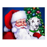 El Dalmatian de Santa en el navidad Tarjetas Postales