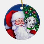 El Dalmatian de Santa en el ornamento del navidad Ornato