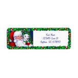 El Dalmatian de Santa en las etiquetas del navidad Etiqueta De Remite