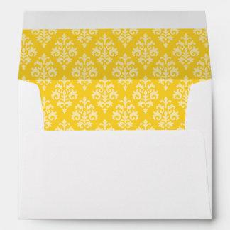 El damasco amarillo envuelve 5x7 sobres