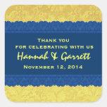 El damasco amarillo y azul le agradece que casa R3 Pegatinas Cuadradas Personalizadas