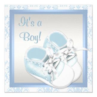 """El damasco azul calza la ducha azul del bebé del invitación 5.25"""" x 5.25"""""""