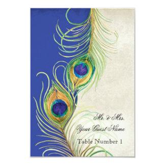 El damasco azul de la pluma del pavo real de invitación 8,9 x 12,7 cm