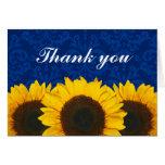 El damasco azul del girasol le agradece tarjetas