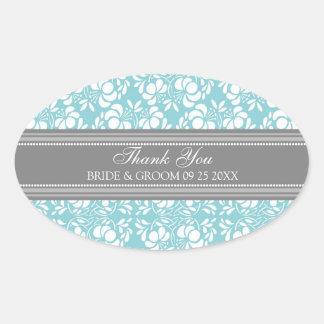 El damasco azul gris le agradece las etiquetas del calcomanías ovales personalizadas