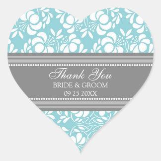 El damasco azul gris le agradece las etiquetas del pegatina de corazon