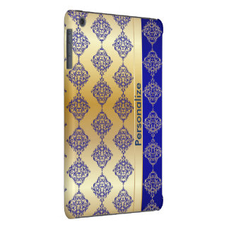 El damasco azul marino y del oro rico brillante el carcasa para iPad mini