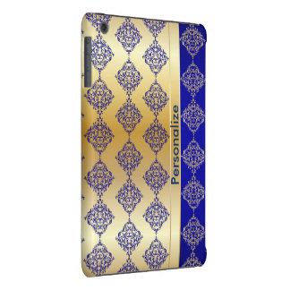 El damasco azul marino y del oro rico brillante el fundas de iPad mini retina