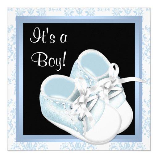El damasco azul negro calza la ducha del bebé comunicado personal