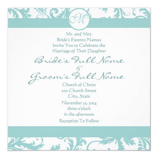 El damasco azul remolina invitación del boda