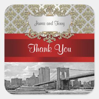 El damasco blanco del oro del puente de Brooklyn Pegatina Cuadrada