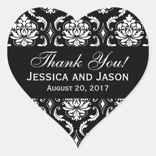 El damasco blanco negro del boda le agradece calcomanía de corazón personalizadas