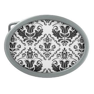 El damasco blanco negro elegante adorna el modelo hebillas cinturon ovales