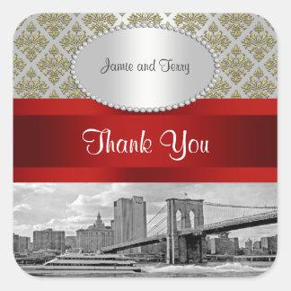 El damasco blanco P del oro del puente de Brooklyn Pegatina Cuadrada