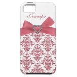 El damasco blanco y la impresión del arco rosado J iPhone 5 Case-Mate Funda