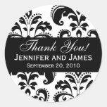 El damasco blanco y negro del boda le agradece eti etiqueta redonda