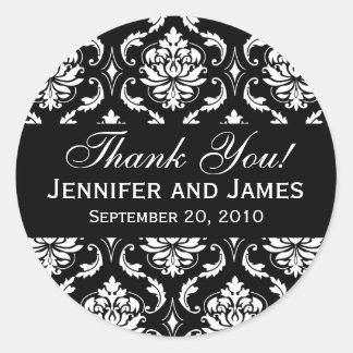 El damasco blanco y negro del boda le agradece pegatina redonda