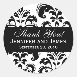 El damasco blanco y negro del boda le agradece etiqueta redonda