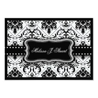 """El damasco blanco y negro hermoso del vintage invitación 3.5"""" x 5"""""""