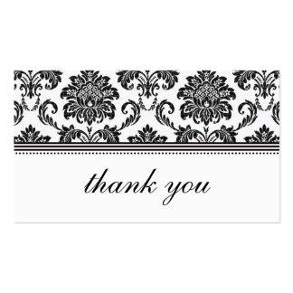 El damasco blanco y negro le agradece cardar tarjetas de visita