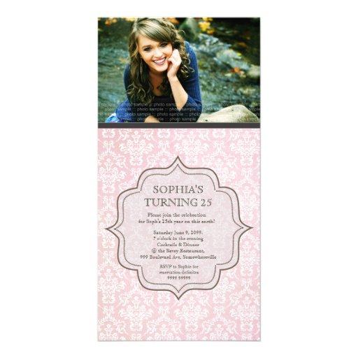 El damasco blanco y rosado del cumpleaños de las m tarjetas fotográficas