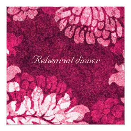 """el damasco - cerise - cena del ensayo invita invitación 5.25"""" x 5.25"""""""