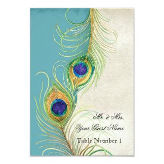 El damasco de la aguamarina de la pluma del pavo invitación 8,9 x 12,7 cm