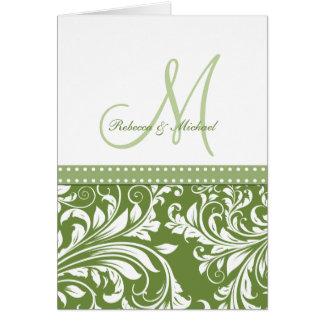 ¡El damasco de la flora del verde verde oliva y de Tarjetas
