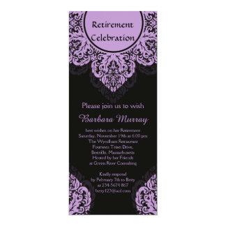"""El damasco de la lila en el fiesta de retiro negro invitación 4"""" x 9.25"""""""