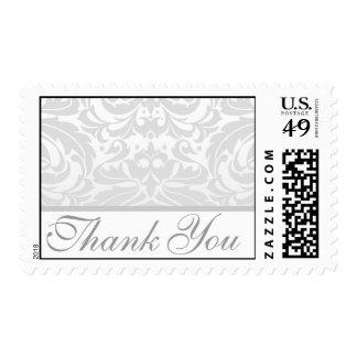 El damasco de plata elegante le agradece boda timbres postales