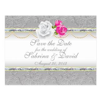 El damasco de plata elegante y el rosa rosado ahor postal