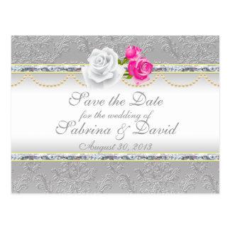 El damasco de plata elegante y el rosa rosado ahor tarjeta postal