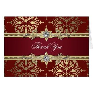 El damasco de rubíes del rojo y del oro le agradec felicitación