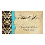 El damasco del arco del vintage de la turquesa le  tarjeta de visita