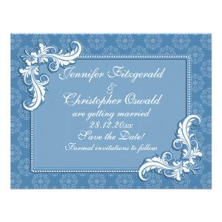 El damasco del azul de acero y el marco floral aho invitacion personalizada