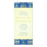 El damasco del azul y del oro con el boda delgado invitación 10,1 x 23,5 cm